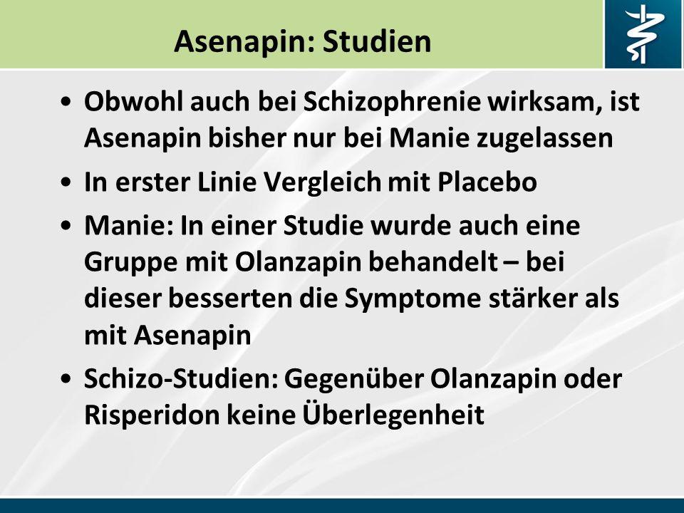 Asenapin: Studien Obwohl auch bei Schizophrenie wirksam, ist Asenapin bisher nur bei Manie zugelassen In erster Linie Vergleich mit Placebo Manie: In einer Studie wurde auch eine Gruppe mit Olanzapin behandelt – bei dieser besserten die Symptome stärker als mit Asenapin Schizo-Studien: Gegenüber Olanzapin oder Risperidon keine Überlegenheit