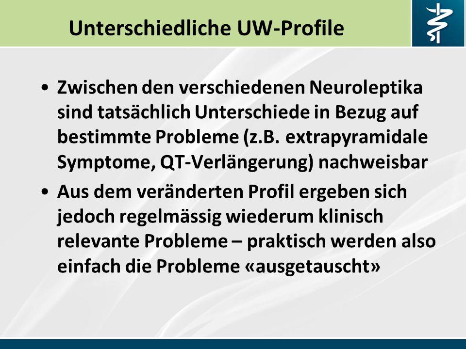 Unterschiedliche UW-Profile Zwischen den verschiedenen Neuroleptika sind tatsächlich Unterschiede in Bezug auf bestimmte Probleme (z.B.