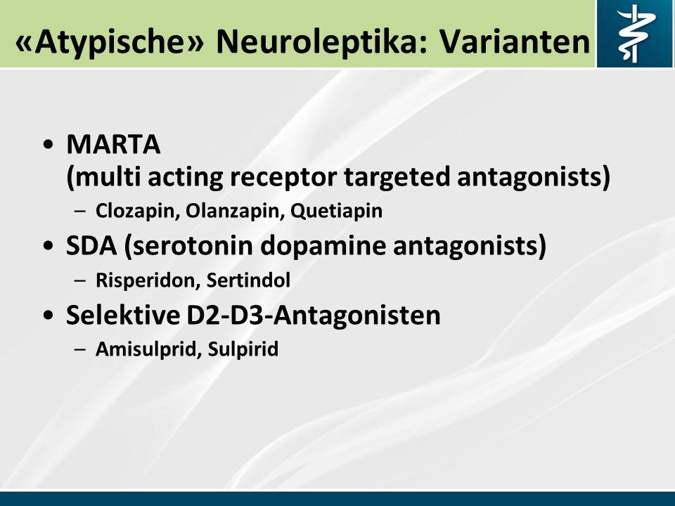 Quetiapin Seroquel (Dibenzothiazepin) Antagonist an D, S, A, H, M Schizophrenie, bipolare Krankheit (Manie, Depression).