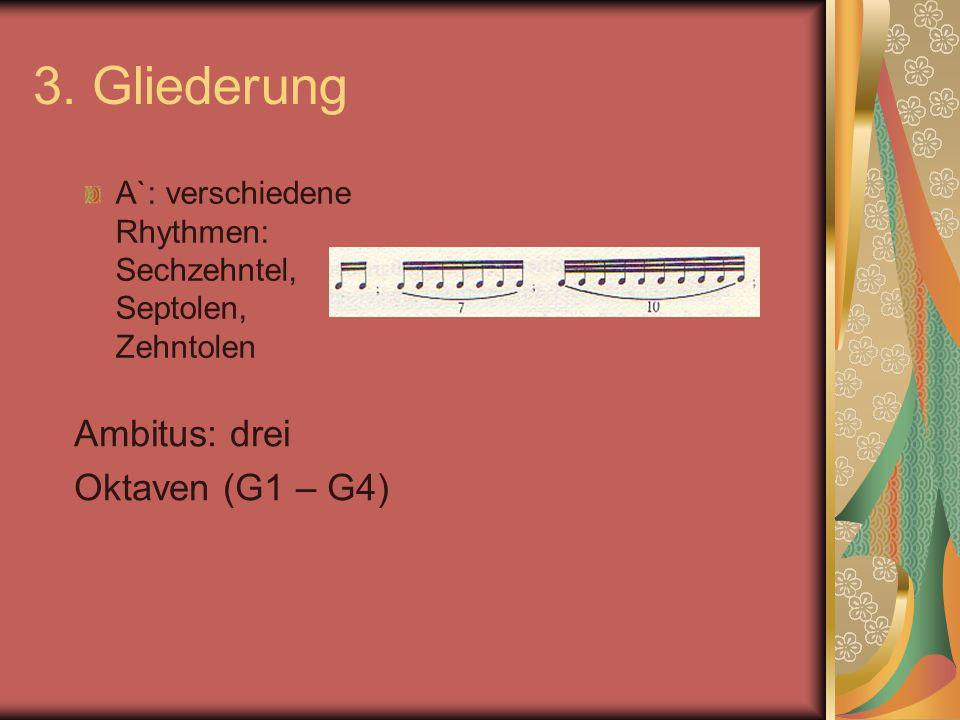 3. Gliederung A`: verschiedene Rhythmen: Sechzehntel, Septolen, Zehntolen Ambitus: drei Oktaven (G1 – G4)