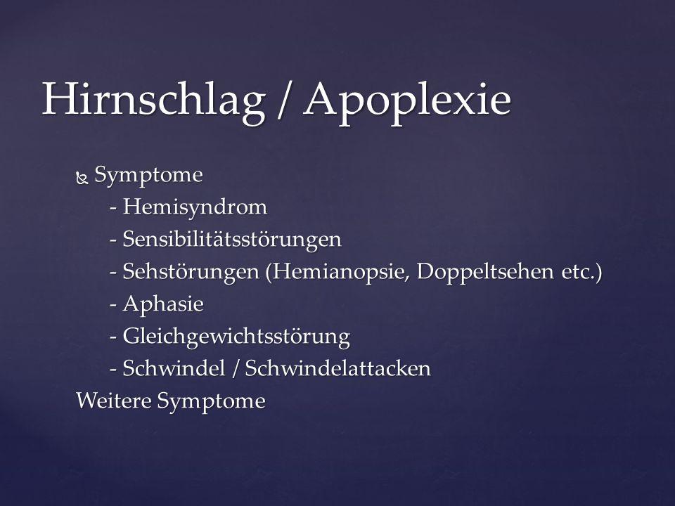  Symptome - Hemisyndrom - Hemisyndrom - Sensibilitätsstörungen - Sensibilitätsstörungen - Sehstörungen (Hemianopsie, Doppeltsehen etc.) - Sehstörunge