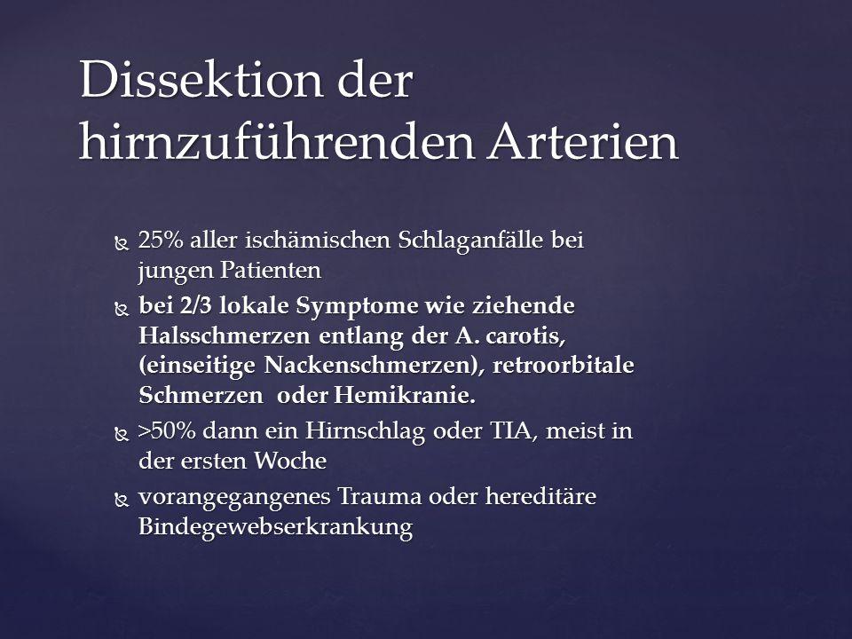  25% aller ischämischen Schlaganfälle bei jungen Patienten  bei 2/3 lokale Symptome wie ziehende Halsschmerzen entlang der A. carotis, (einseitige N