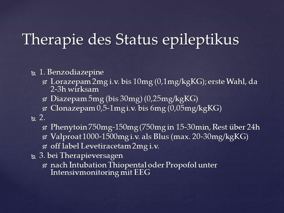  1. Benzodiazepine  Lorazepam 2mg i.v. bis 10mg (0,1mg/kgKG); erste Wahl, da 2-3h wirksam  Diazepam 5mg (bis 30mg) (0,25mg/kgKG)  Clonazepam 0,5-1