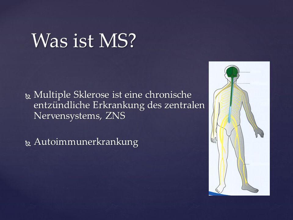  Multiple Sklerose ist eine chronische entzündliche Erkrankung des zentralen Nervensystems, ZNS  Autoimmunerkrankung Was ist MS?