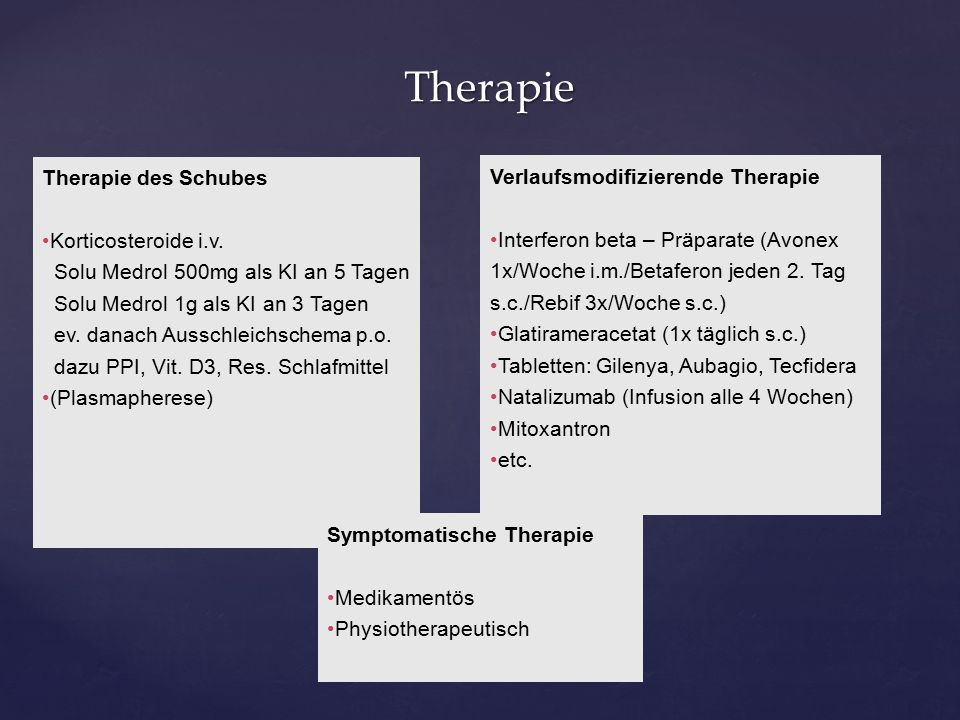 Therapie Therapie Therapie des Schubes Korticosteroide i.v.