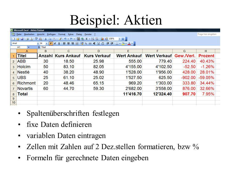 Beispiel: Aktien Spaltenüberschriften festlegen fixe Daten definieren variablen Daten eintragen Zellen mit Zahlen auf 2 Dez.stellen formatieren, bzw %