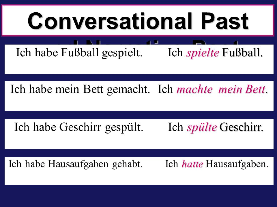 Conversational Past und Narrative Past war im Cafe.