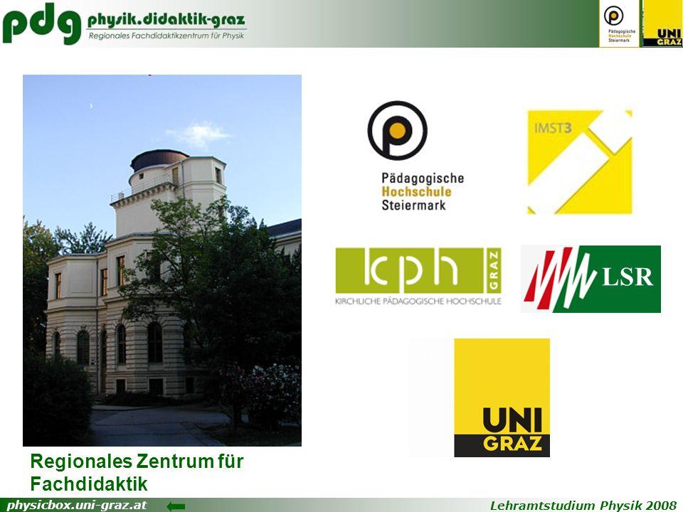 Lehramtstudium Physik 2008 physicbox.uni-graz.at Regionales Zentrum für Fachdidaktik LSR