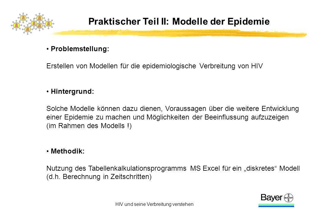 HIV und seine Verbreitung verstehen Praktischer Teil II: Modelle der Epidemie Problemstellung: Erstellen von Modellen für die epidemiologische Verbrei