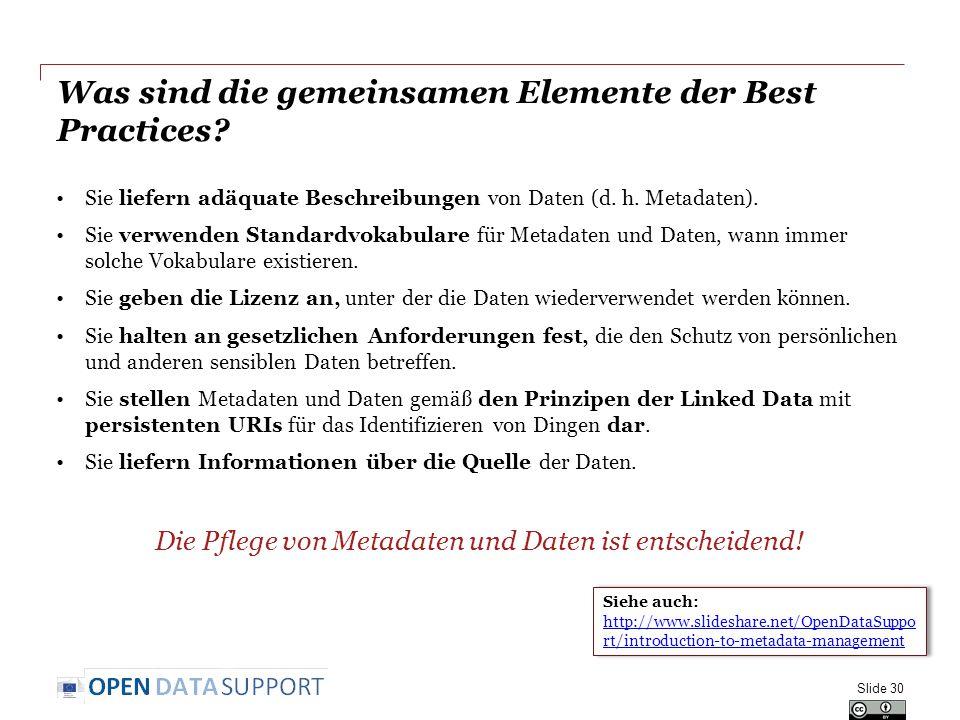Was sind die gemeinsamen Elemente der Best Practices? Sie liefern adäquate Beschreibungen von Daten (d. h. Metadaten). Sie verwenden Standardvokabular