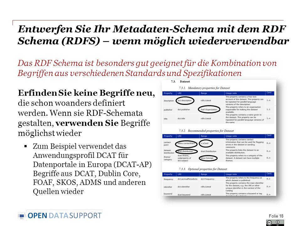 Entwerfen Sie Ihr Metadaten-Schema mit dem RDF Schema (RDFS) – wenn möglich wiederverwendbar Das RDF Schema ist besonders gut geeignet für die Kombina