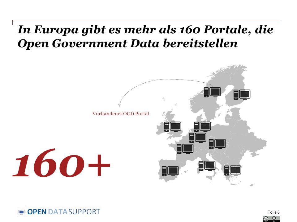 In Europa gibt es mehr als 160 Portale, die Open Government Data bereitstellen 160+ Vorhandenes OGD Portal Folie 6