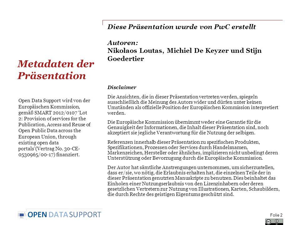 Diese Präsentation wurde von PwC erstellt Autoren: Nikolaos Loutas, Michiel De Keyzer und Stijn Goedertier Disclaimer Die Ansichten, die in dieser Präsentation vertreten werden, spiegeln ausschließlich die Meinung des Autors wider und dürfen unter keinen Umständen als offizielle Position der Europäischen Kommission interpretiert werden.