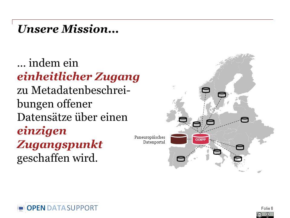 Unsere Mission...... indem ein einheitlicher Zugang zu Metadatenbeschrei- bungen offener Datensätze über einen einzigen Zugangspunkt geschaffen wird.
