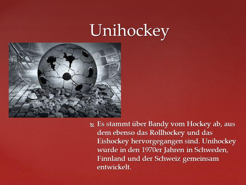  Es stammt über Bandy vom Hockey ab, aus dem ebenso das Rollhockey und das Eishockey hervorgegangen sind. Unihockey wurde in den 1970er Jahren in Sch