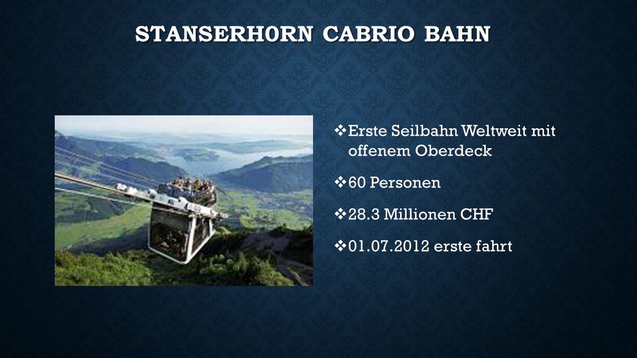 STANSERH0RN CABRIO BAHN  Erste Seilbahn Weltweit mit offenem Oberdeck  60 Personen  28.3 Millionen CHF  01.07.2012 erste fahrt