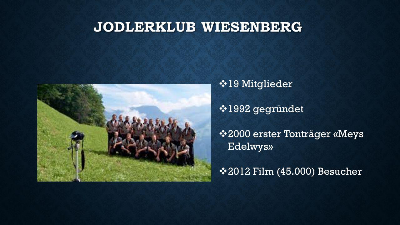 JODLERKLUB WIESENBERG  19 Mitglieder  1992 gegründet  2000 erster Tonträger «Meys Edelwys»  2012 Film (45.000) Besucher