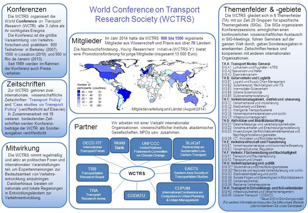 Themenfelder & -gebiete Mitwirkung Zeitschriften Partner World Conference on Transport Research Society (WCTRS) Mitglieder Die WCTRS gliedert sich in 8 Themenfelder (TA) mit zur Zeit 29 Gruppen für spezifische Themengebiete (SIGs).