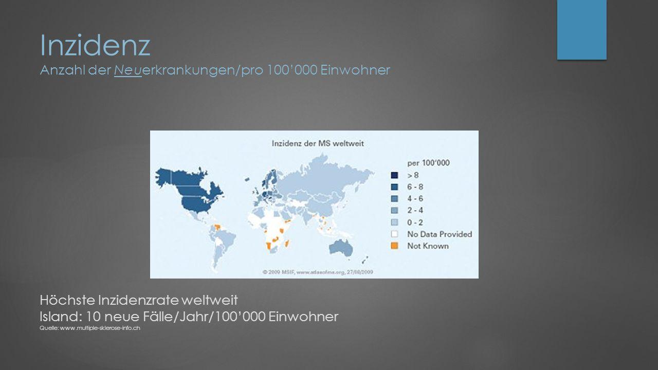Inzidenz Anzahl der Neuerkrankungen/pro 100'000 Einwohner Höchste Inzidenzrate weltweit Island: 10 neue Fälle/Jahr/100'000 Einwohner Quelle: www.multiple-sklerose-info.ch