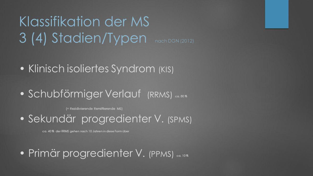 Klassifikation der MS 3 (4) Stadien/Typen nach DGN (2012) Klinisch isoliertes Syndrom (KIS) Schubförmiger Verlauf (RRMS) ca.
