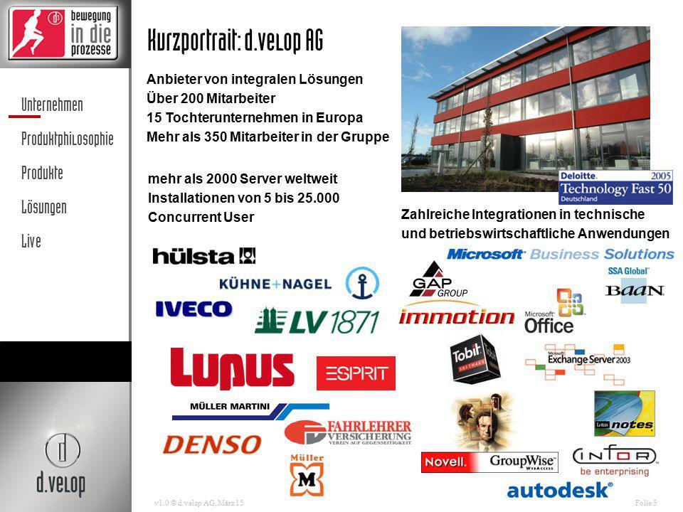 Unternehmen Produktphilosophie Produkte Lösungen Live v1.0 © d.velop AG, März 15Folie 3 Kurzportrait: d.velop AG Zahlreiche Integrationen in technisch