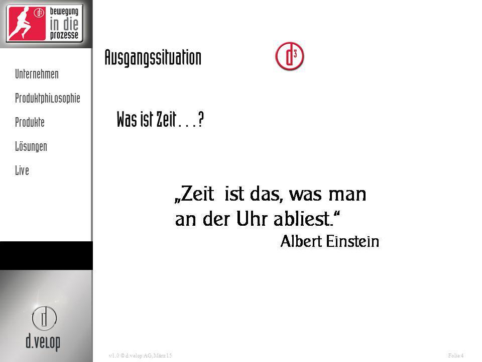 """Unternehmen Produktphilosophie Produkte Lösungen Live v1.0 © d.velop AG, März 15Folie 5 Ausgangssituation """"Die Zahl derer, die durch zu viele Informationen nicht mehr informiert sind, wächst. Rudolf Augstein (1923-2002), dt."""