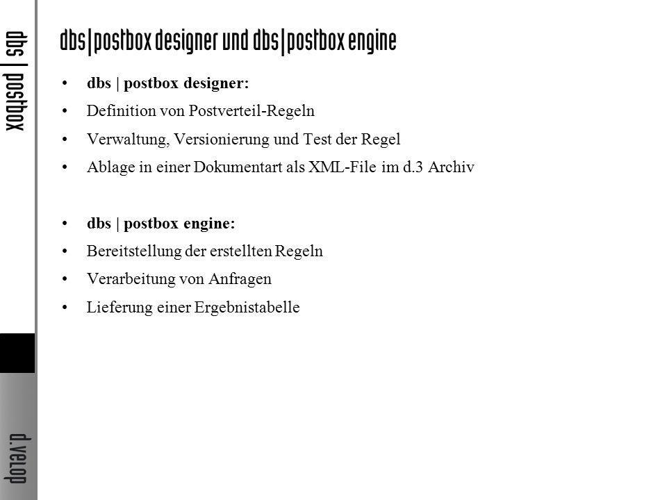 dbs | postbox designer: Definition von Postverteil-Regeln Verwaltung, Versionierung und Test der Regel Ablage in einer Dokumentart als XML-File im d.3