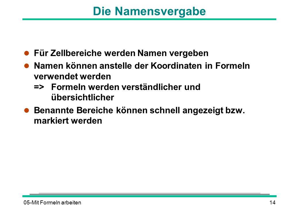 05-Mit Formeln arbeiten14 Die Namensvergabe l Für Zellbereiche werden Namen vergeben l Namen können anstelle der Koordinaten in Formeln verwendet werd