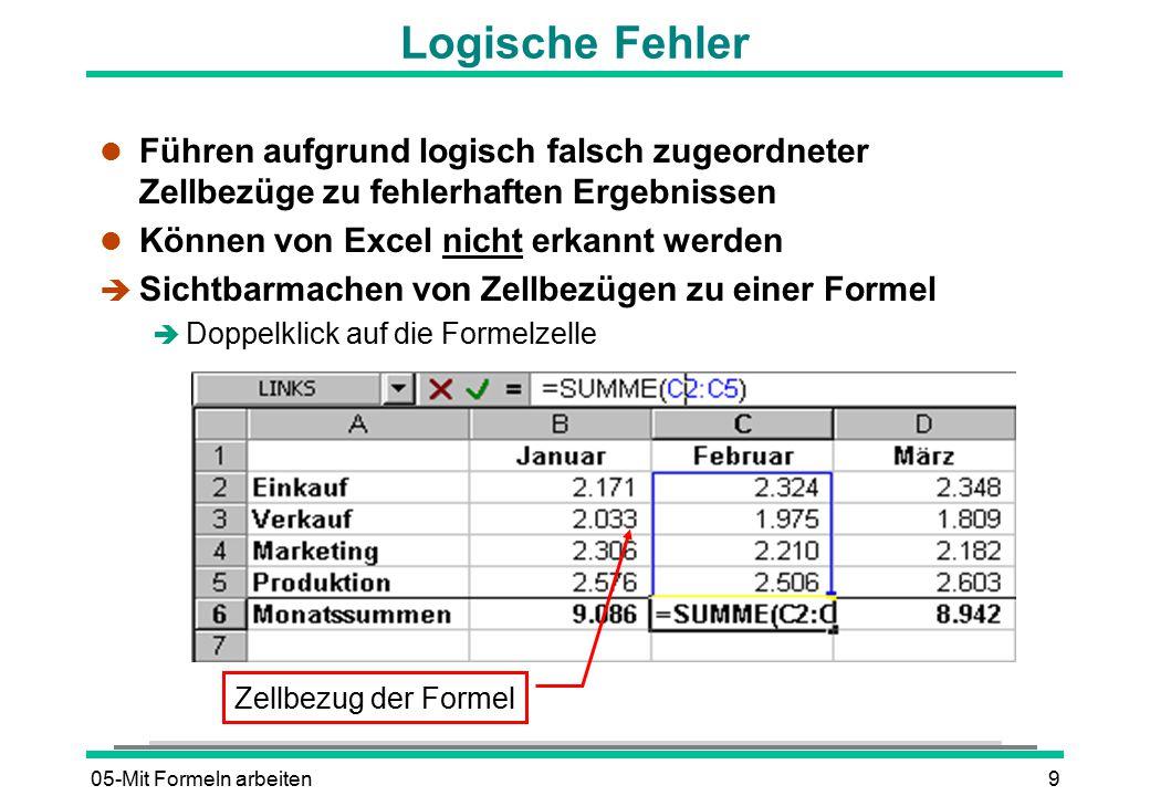 05-Mit Formeln arbeiten10 Mögliche Fehlermeldungen l #BEZUG.