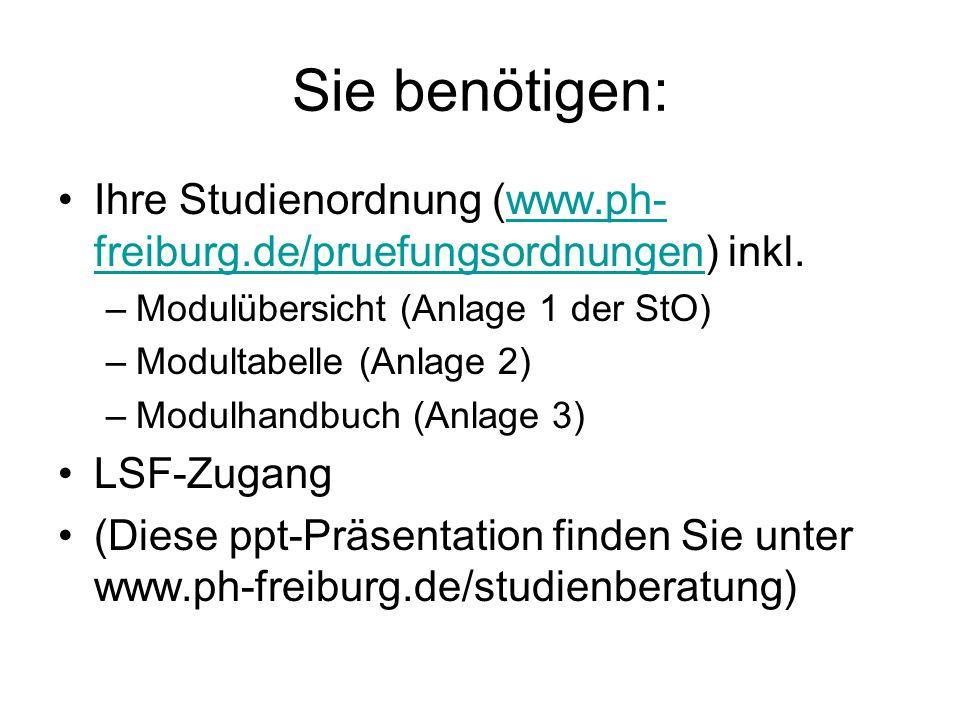 Sie benötigen: Ihre Studienordnung (www.ph- freiburg.de/pruefungsordnungen) inkl.www.ph- freiburg.de/pruefungsordnungen –Modulübersicht (Anlage 1 der