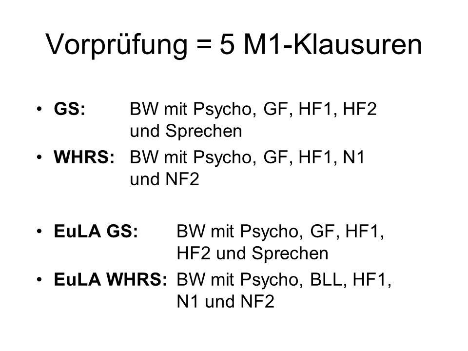 Vorprüfung = 5 M1-Klausuren GS:BW mit Psycho, GF, HF1, HF2 und Sprechen WHRS: BW mit Psycho, GF, HF1, N1 und NF2 EuLA GS: BW mit Psycho, GF, HF1, HF2