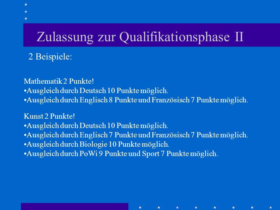 Zulassung zur Qualifikationsphase II Mathematik 2 Punkte! Ausgleich durch Deutsch 10 Punkte möglich. Ausgleich durch Englisch 8 Punkte und Französisch