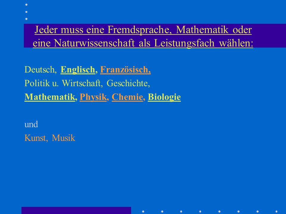 Jeder muss eine Fremdsprache, Mathematik oder eine Naturwissenschaft als Leistungsfach wählen: Deutsch, Englisch, Französisch, Politik u.