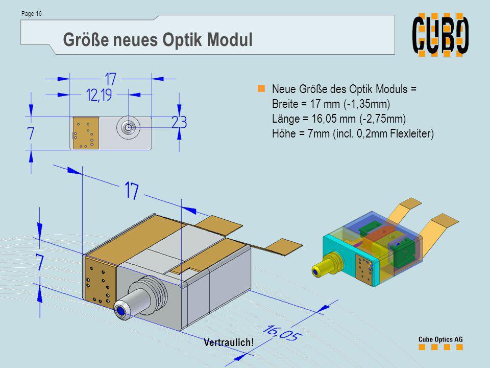 Page 16 Vertraulich! Größe neues Optik Modul Neue Größe des Optik Moduls = Breite = 17 mm (-1,35mm) Länge = 16,05 mm (-2,75mm) Höhe = 7mm (incl. 0,2mm