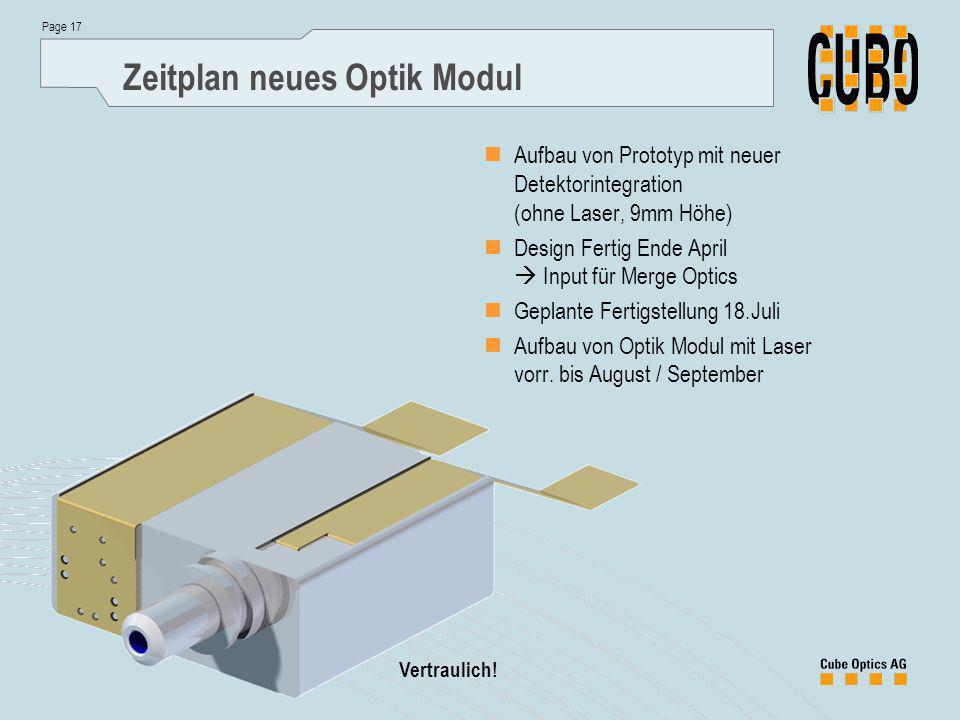 Page 17 Vertraulich! Zeitplan neues Optik Modul Aufbau von Prototyp mit neuer Detektorintegration (ohne Laser, 9mm Höhe) Design Fertig Ende April  In