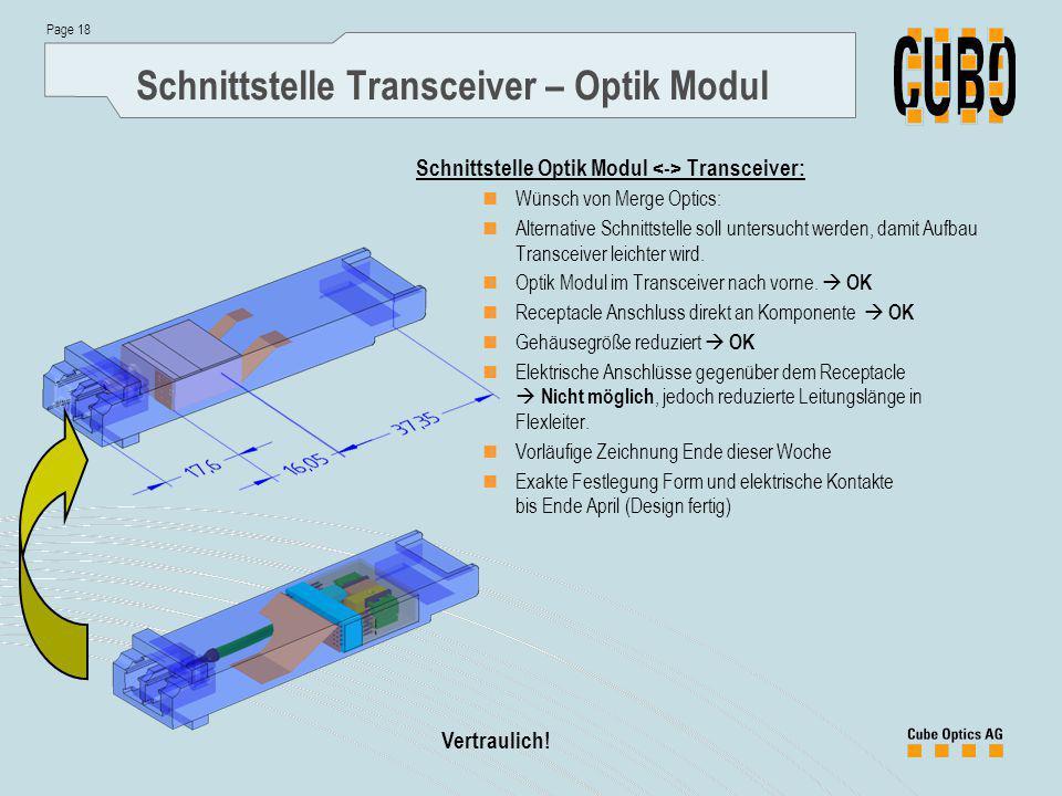 Page 18 Vertraulich! Schnittstelle Transceiver – Optik Modul Schnittstelle Optik Modul Transceiver: Wünsch von Merge Optics: Alternative Schnittstelle