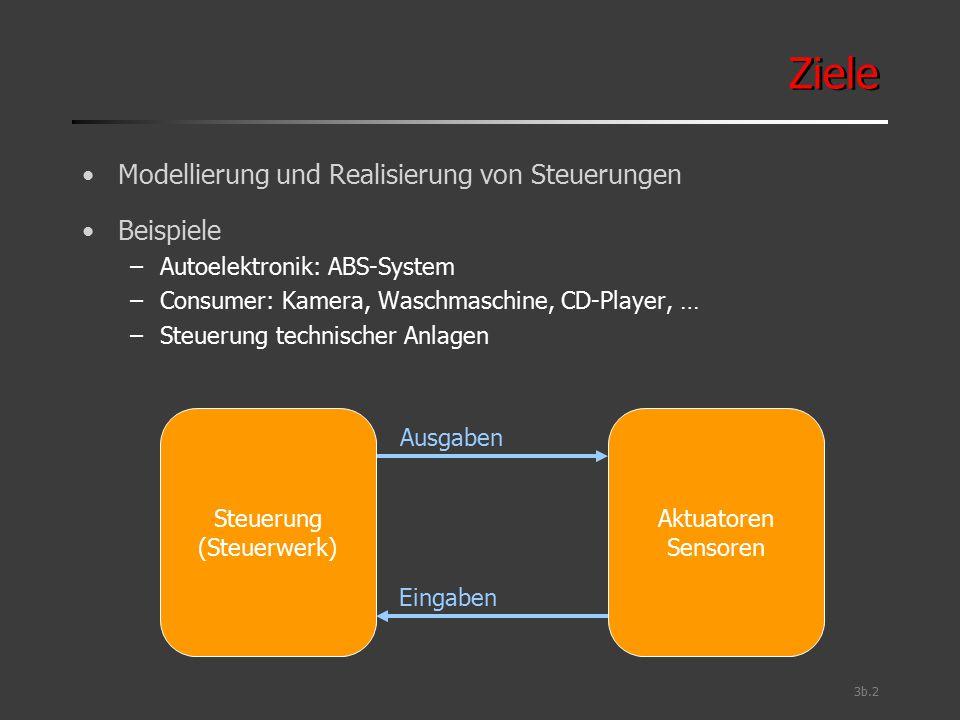 3b.2 Ziele Modellierung und Realisierung von Steuerungen Beispiele –Autoelektronik: ABS-System –Consumer: Kamera, Waschmaschine, CD-Player, … –Steueru