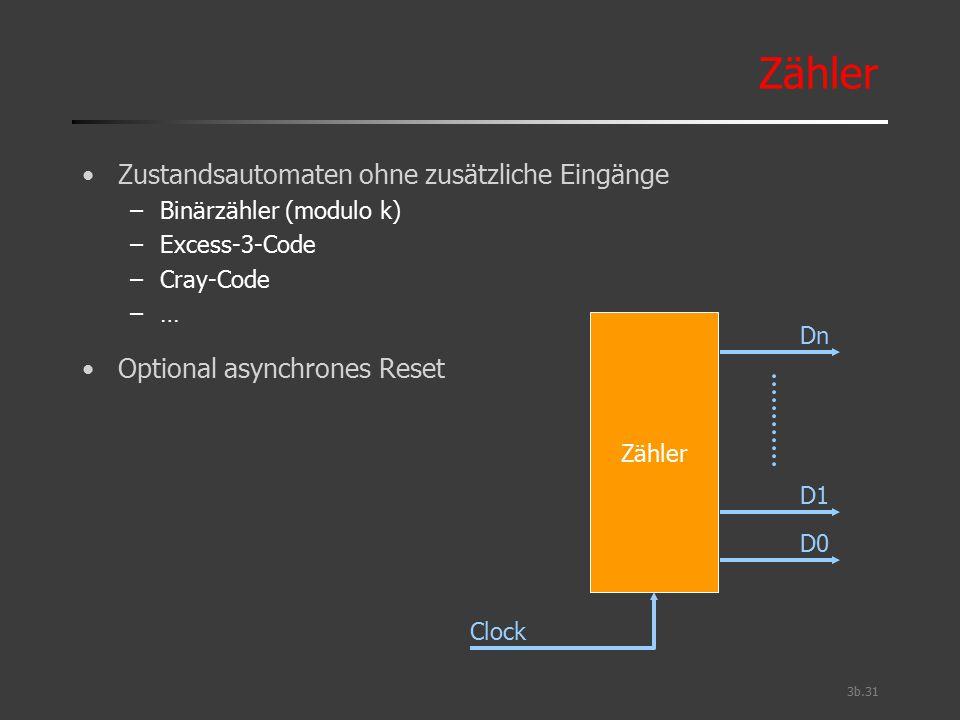 3b.31 Zähler Zustandsautomaten ohne zusätzliche Eingänge –Binärzähler (modulo k) –Excess-3-Code –Cray-Code –… Optional asynchrones Reset Zähler Dn D1