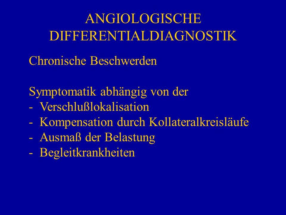 ANGIOLOGISCHE DIFFERENTIALDIAGNOSTIK Chronische Beschwerden Symptomatik abhängig von der - -Verschlußlokalisation - -Kompensation durch Kollateralkrei