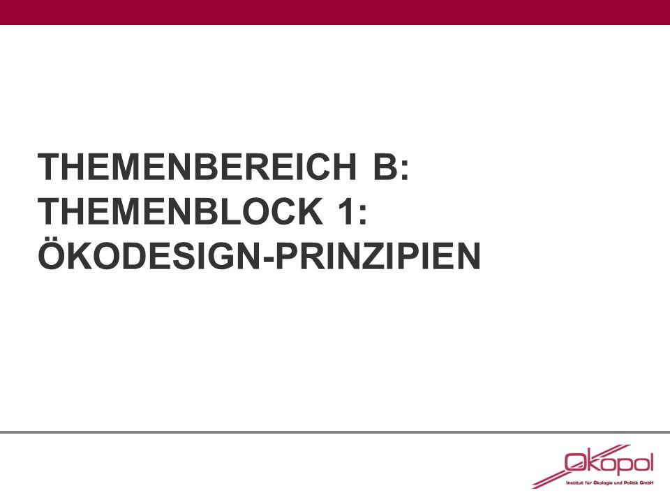 THEMENBEREICH B: THEMENBLOCK 1: ÖKODESIGN-PRINZIPIEN