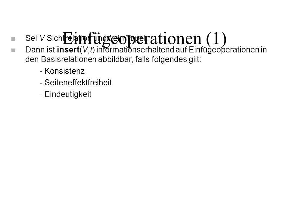 Einfügeoperationen (1) n Sei V Sichtrelation und t ein Tupel.