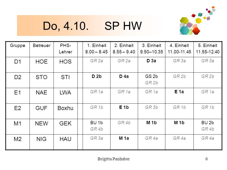 Brigitta Panhuber6 Do, 4.10. SP HW GruppeBetreuerPHS- Lehrer 1.
