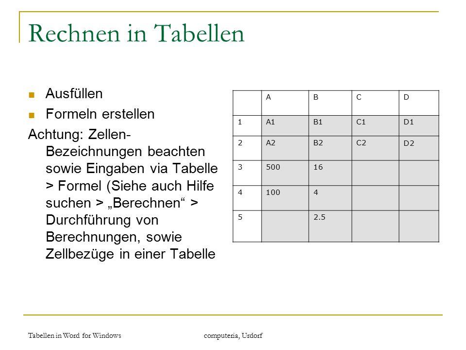 """Tabellen in Word for Windows computeria, Urdorf Rechnen in Tabellen Ausfüllen Formeln erstellen Achtung: Zellen- Bezeichnungen beachten sowie Eingaben via Tabelle > Formel (Siehe auch Hilfe suchen > """"Berechnen > Durchführung von Berechnungen, sowie Zellbezüge in einer Tabelle ABCD 1A1B1C1D1 2A2B2C2D2 350016 41004 52.5"""