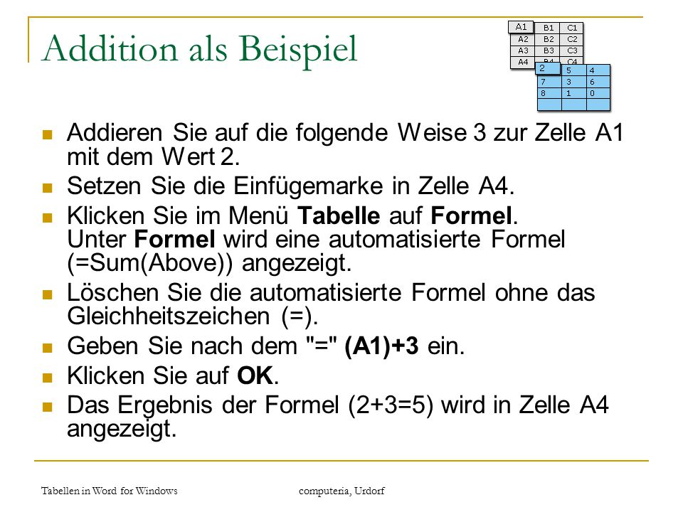 Tabellen in Word for Windows computeria, Urdorf Addition als Beispiel Addieren Sie auf die folgende Weise 3 zur Zelle A1 mit dem Wert 2. Setzen Sie di