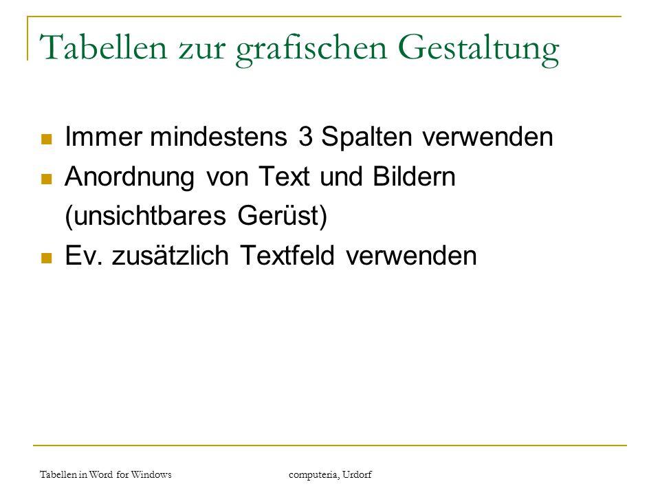 Tabellen in Word for Windows computeria, Urdorf Tabellen zur grafischen Gestaltung Immer mindestens 3 Spalten verwenden Anordnung von Text und Bildern