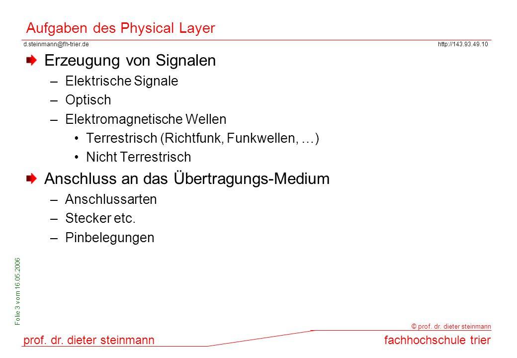 d.steinmann@fh-trier.dehttp://143.93.49.10 prof. dr. dieter steinmannfachhochschule trier © prof. dr. dieter steinmann Folie 3 vom 16.05.2006 Aufgaben