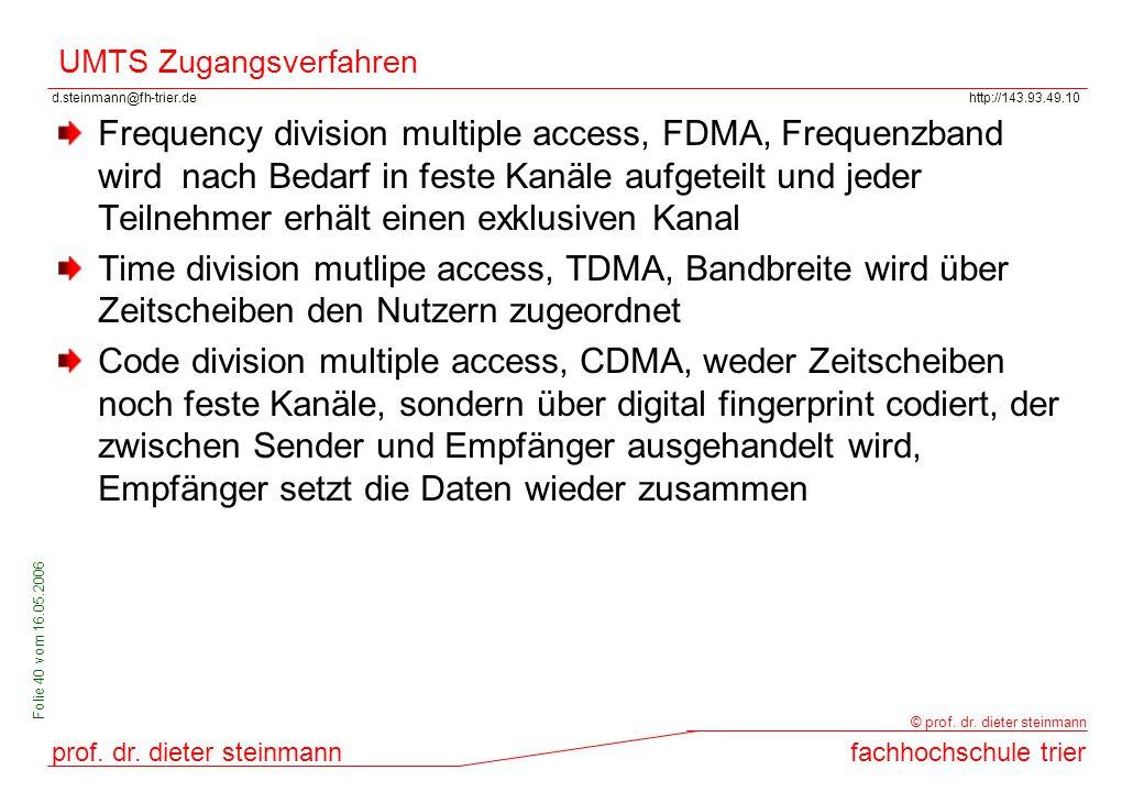 d.steinmann@fh-trier.dehttp://143.93.49.10 prof. dr. dieter steinmannfachhochschule trier © prof. dr. dieter steinmann Folie 40 vom 16.05.2006 UMTS Zu
