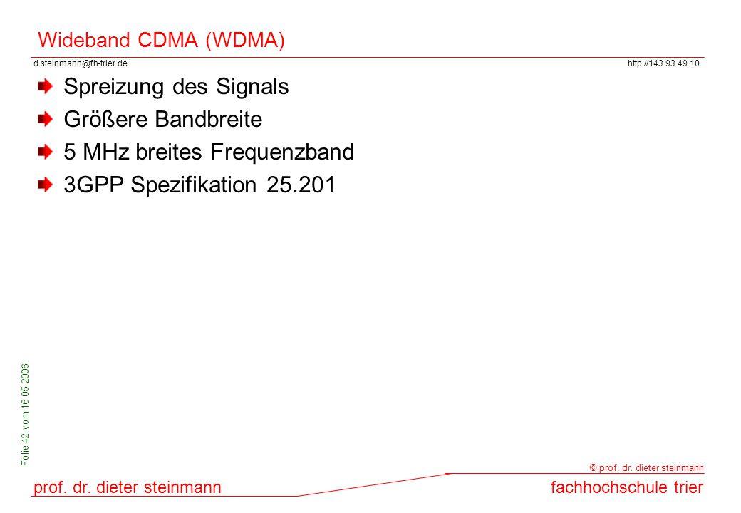 d.steinmann@fh-trier.dehttp://143.93.49.10 prof. dr. dieter steinmannfachhochschule trier © prof. dr. dieter steinmann Folie 42 vom 16.05.2006 Wideban