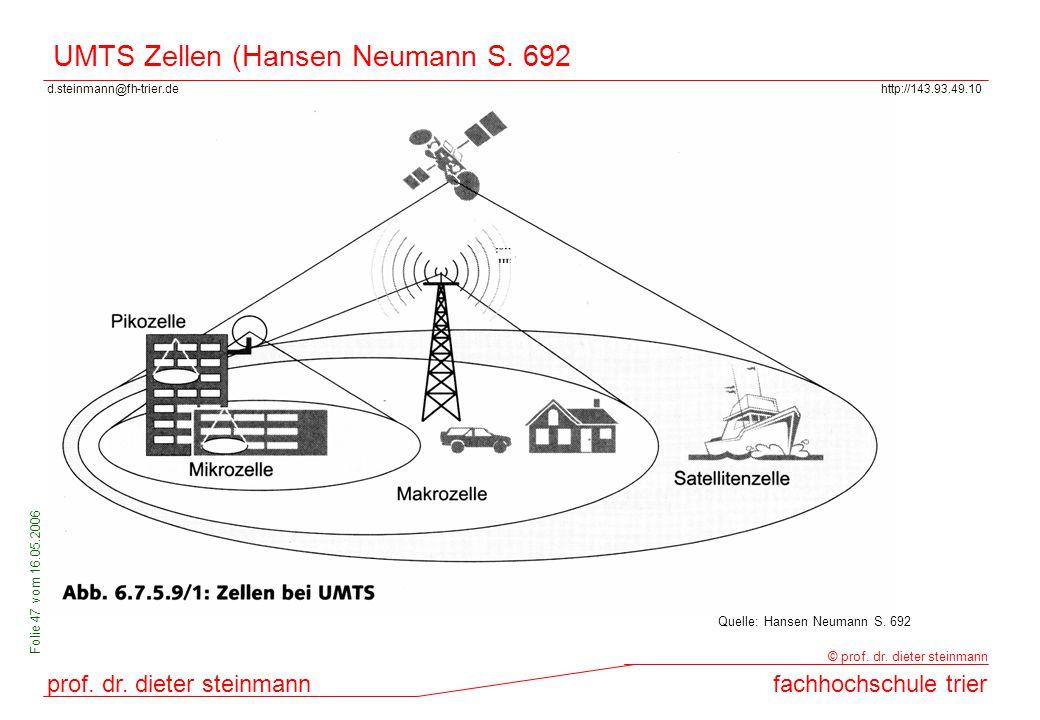 d.steinmann@fh-trier.dehttp://143.93.49.10 prof. dr. dieter steinmannfachhochschule trier © prof. dr. dieter steinmann Folie 47 vom 16.05.2006 UMTS Ze
