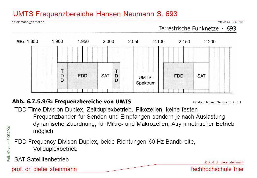 d.steinmann@fh-trier.dehttp://143.93.49.10 prof. dr. dieter steinmannfachhochschule trier © prof. dr. dieter steinmann Folie 49 vom 16.05.2006 UMTS Fr